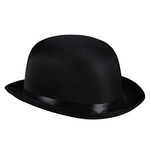 Satin-Melone Bowler Edler Herren-Hut viktorianisch 20er Jahre 30er Partyhut Spaßhut Kopfbedeckung Hochwertiges Kostüm-Zubehör Karneval Fasching Einheitsgröße ()