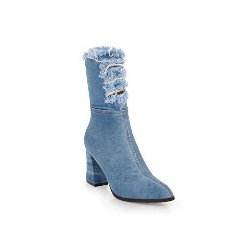 GAOQQ Winter Frauen Cowboystiefel, Mode Spitze Zehe Dicke Ferse Seite Mit Reißverschluss Schuhe,Blue-CN34 -