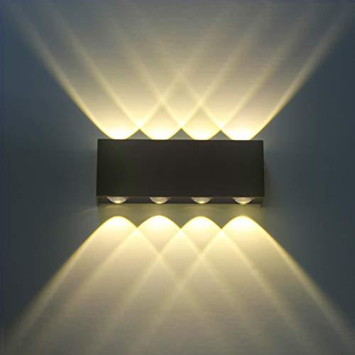 Lampada da Parete Interno Moderno LED 8W Bianco Caldo Applique da Parete in Alluminio - Lampada da Muro per Camera da letto Soggiorno Corridoio Scale Cucina Sala da Pranzo - Nero