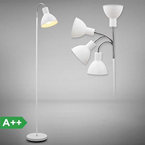 LED Stehlampe | moderne Stehleuchte | exkl. E27 Leuchtmittel | weiß - chrom | IP20 | dreh- und schwenkbar - Chrom Moderne Stehleuchte