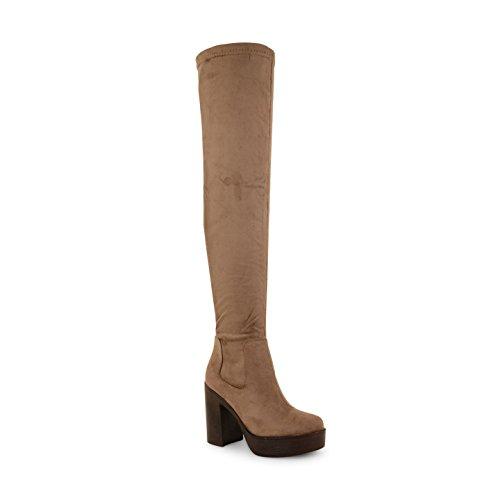 NEU Damen Knee High geschoben Plattform High Heel Stretch Damen Stiefel Schuhe Taupe