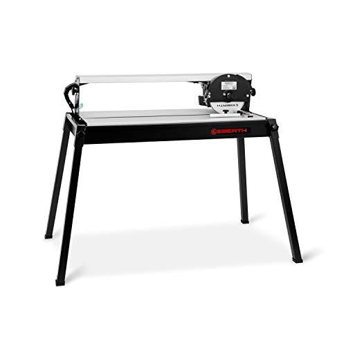 EBERTH 620 mm elektrische Fliesenschneidemaschine mit Laser (stufenlos schwenkbar bis 45°, 36 mm Schnitttiefe, Winkelanschlag, Diamanttrennscheibe)