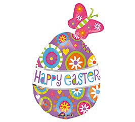 Amscan International 2381301 17 x 30-Inch Happy Easter Butterfly Egg