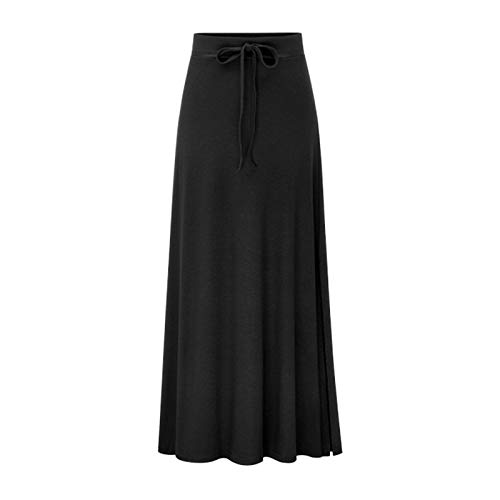 High-slit Skirt (WSLCN Damen Rock Einfarbig Bleistiftrock Maxi Rock Strickrock Seite Schlitz High Slit Skirt Große Größe Schwarz (Asie M) Für 45-52.5kg)