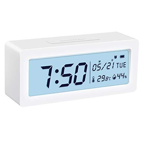 ORIA Digital Wecker, Alarm Clock Digitale Tischuhr mit Thermo-Hygrometer, große LCD-Ziffern Hintergrundbeleuchtung mit Snooze, Batteriebetriebene Uhr für Schlafzimmer, Nachttisch, Schreibtisch, Weiß (Weißen Schreibtisch Für Schlafzimmer)