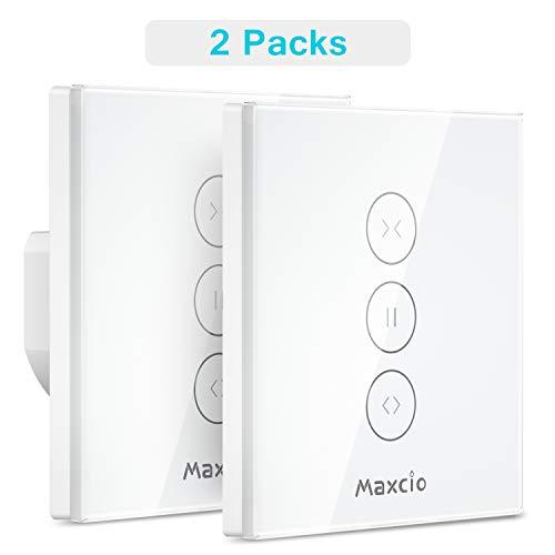 Rolladen Zeitschaltuhren, Maxcio Alexa Rolladen Vorhang Schalter, Kompatibel mit Alexa und Google Home, APP Fernbedienung und Timer, Touch-Schalter, Nullleiter Erforderlich - 2 Packs