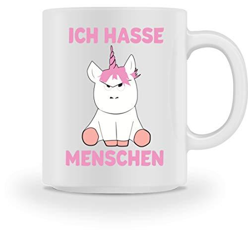 Shirtee Ich Hasse Menschen Einhorn/Einhörner/Geburtstag Geschenk - Tasse -M-Weiß