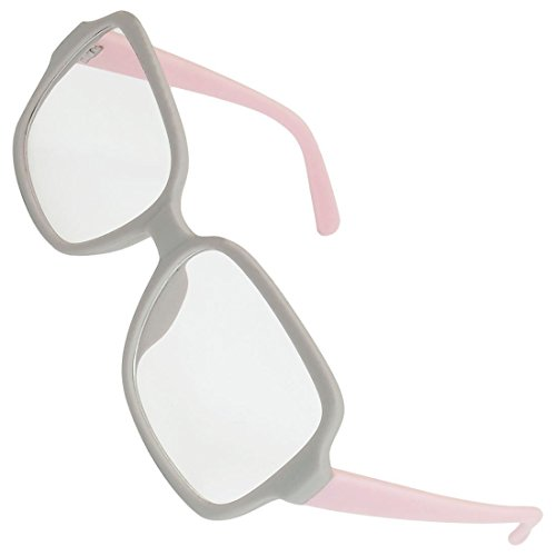 DealMux Frauen Grau Kunststoff Full Frame Oversize Linse plain Gläser Eyewear