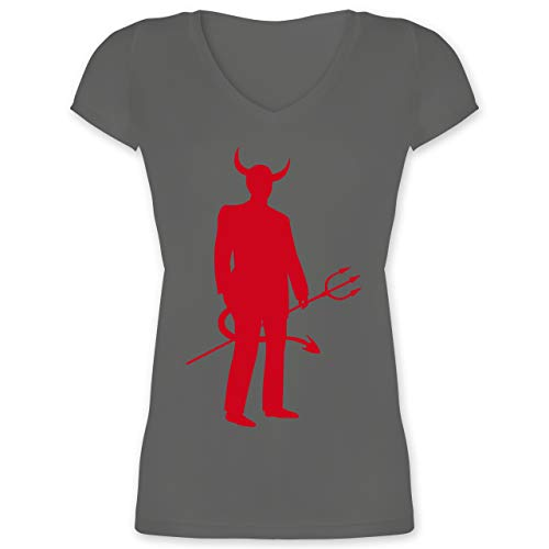Halloween - Teufel - XXL - Anthrazit - XO1525 - Damen T-Shirt mit V-Ausschnitt