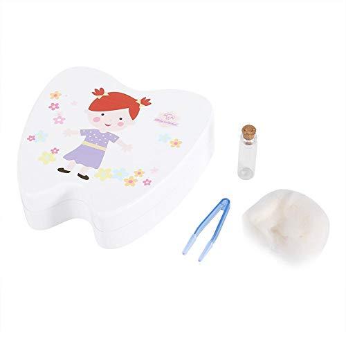 Baby Milchzähne Zähne Box Niedlicher Druck Holzzähne Lagerung Inhaber Organizer Milchzähne Sammlung Milchzähndose Zähne Kasten für Kinder(White Little Girl) -