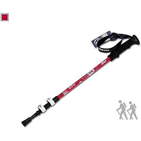 Bastoni da trekking, 1confezione–Alluminio Aeronautico con impugnature in sughero Outdoor alpinismo bastone da sci, escursionismo/Walking/da arrampicata, con stick, Red