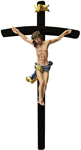 Kaltner Präsente Geschenkidee - 35 cm Wandkreuz Kruzifix mit Jesus Christus Figur auf Kreuz aus Holz Hand bemalt