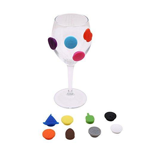 EJY 12st Sportball Silikon Weinglasmarkierer Glasmarkierung Anhänger Dekoration