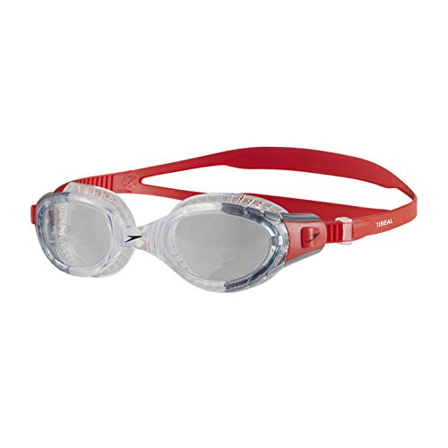 Speedo Futura Biofuse Flexiseal Gafas de Natación, Unisex Adulto, Rojo Lava/Transparente, Talla Única