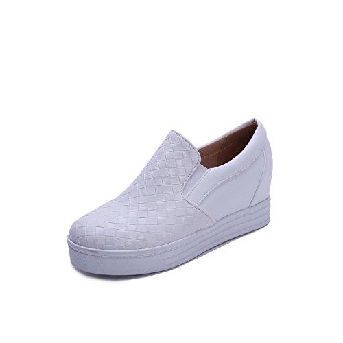 Toe Reinziehen Sapatos Macio Material Senhoras Bombas Brancos Em Baixo Rodada Salto Agoolar Ewqxv0aS