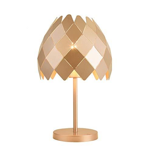 Lampes de table en fer romantiques, minimaliste moderne, LED, noir/or rose/blanc, éclairage de bureau, nordique, chambre à coucher, salon, étude, lampe de chevet chaude (Color : Rose Gold)