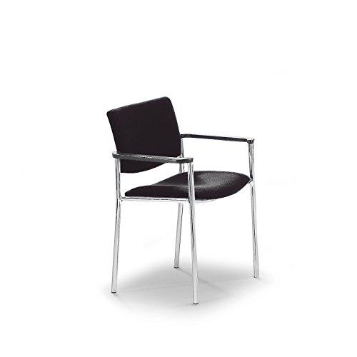 Polster-Besucherstuhl mit Kunststoffgleitern - Gestell verchromt - Bezug schwarz - Besprechungsstuhl Besucherstuhl Konferenzstuhl Polsterstapelstuhl Polsterstuhl Stapelstuhl