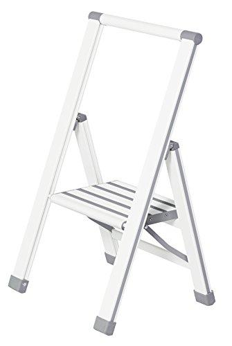Wenko 601014100 Escabeau Pliable Aluminium 1 ma. Blanc, 47 x 8 x 80 cm