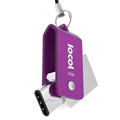 Iocol Twister USB C Stick 32GB Dual - 2 in 1 Funktion > Mini USB 3.0 & Type C < Wasserdicht & Klein - Swivel drehbar aus Metall Ideal für Schlüssel-Anhänger - 32 GB Flash Drive Speicherstick in Lila