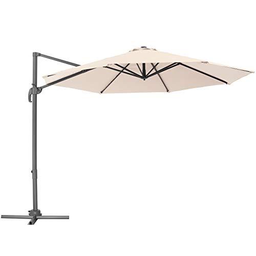 TecTake 800684 Aluminium Garten Sonnenschirm mit Seitenmast und Kurbel, inkl. Ständer, höhenverstellbar, klappbar, UV-Schutz 50+, Ø 300 cm - Diverse Farben - (Beige | Nr. 403133)