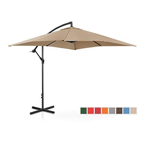 Uniprodo ombrellone da esterno ombrello da giardino uni_umbrella_sq250ta (talpa, rettangolare, 250 x 250 cm, 180 g/m2, inclinabile)