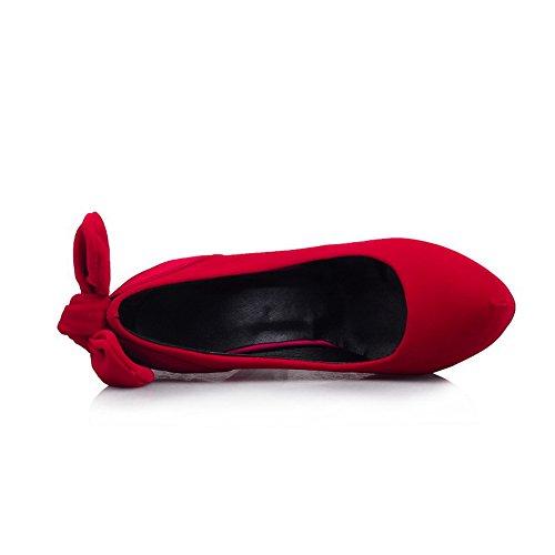 balamasa Mesdames avec nœud en métal dépoli pumps-shoes red