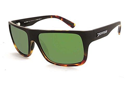 Peperoni Occhiali da sole polarizzati stile Master Nero w/tartaruga con lenti verde