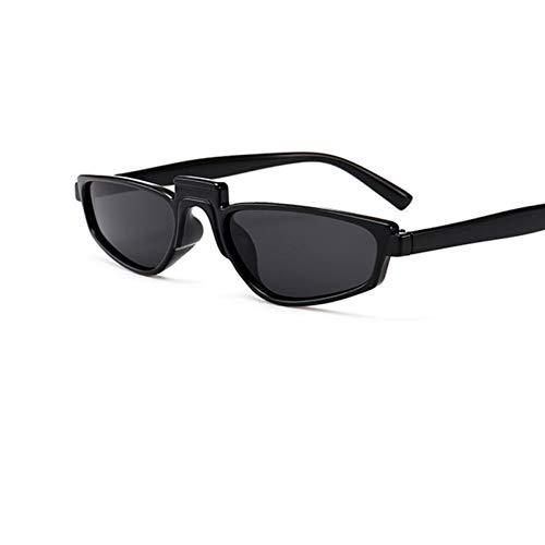 TJJQT Sonnenbrillen Sonnenbrille mit kleinem Gestell Damen Dünne Schwarze Sonnenbrille Weiße Rihanna-Brille Quadrat Eyewar