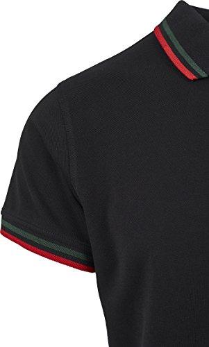 Urban Classics Herren Pullover Double Stripe Poloshirt Mehrfarbig (Black/Green/Fire Red 01225)