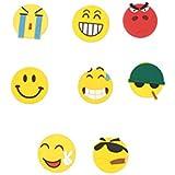 8x Magnet (Smiley, émoticônes, WhatsApp, Emoji) Memoboard, tableau blanc, tableau magnétique, tableau magnétique, drôle, triste, aimants pour réfrigérateur en colère, en rouge, jaune, vert pour le bureau et la maison