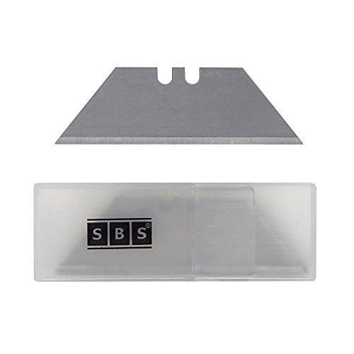 SBS Ersatzklingen für Teppichmesser Trapezform ohne Loch im praktischem Spender - 50 Stück