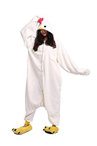 YUWELL Adult Onesie Kigurum Jumpsuits Fasching Animal Cosplay Halloween Pyjamas Costumes, Weißer Hahn XL (Freund Mit Besten Ihrem Kostüme Halloween)
