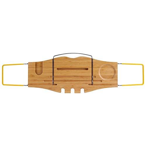 Qiterr Bad Ablage, 1pc Halter über Bad Caddy Holz Badewanne Rack tragbaren Tablett -