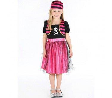 Kostüm Set Angelica Kleid mit Bandana pink-schwarz 5-7Jahre ()