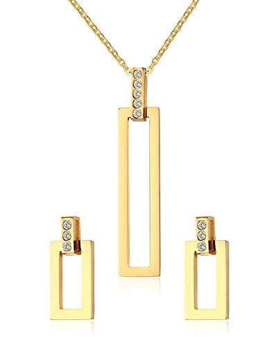 Vnox oro in acciaio inossidabile placcato 18K Striscia Gioielli Imposta per le donne ragazze,collana + orecchini