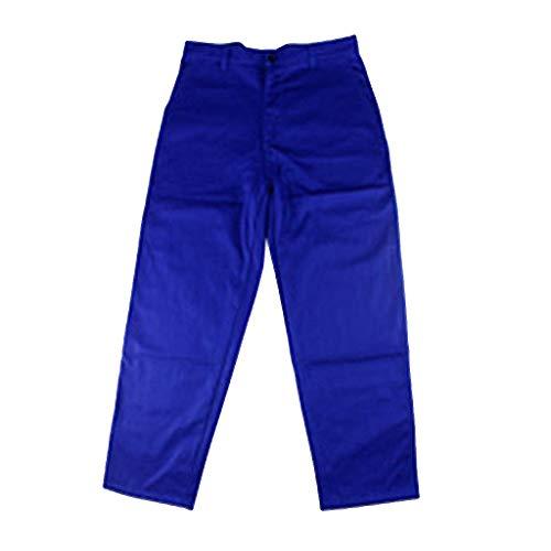 perfk Schutzhose Hose Arbeitsschutzbekleidung Damen Herren Schweißerkleidung - Blau L
