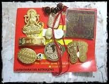 Kriwin Shree Laxmi Kuber Dhan Varsha Yantra (10 Items) Golden For Wealth and Prosperity