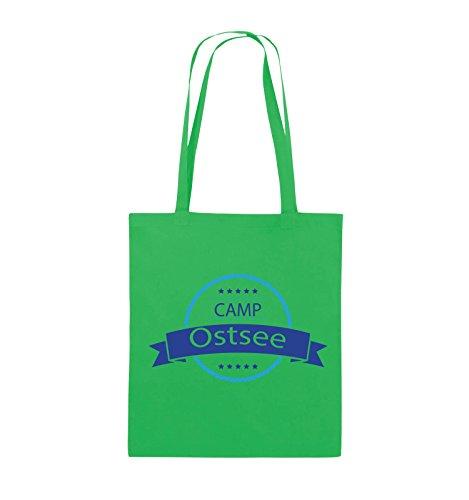 Buste Comiche - Camp Baltico - Borsa Di Juta - Manico Lungo - 38x42cm - Colore: Nero / Bianco-neon Verde / Azzurro-blu Reale