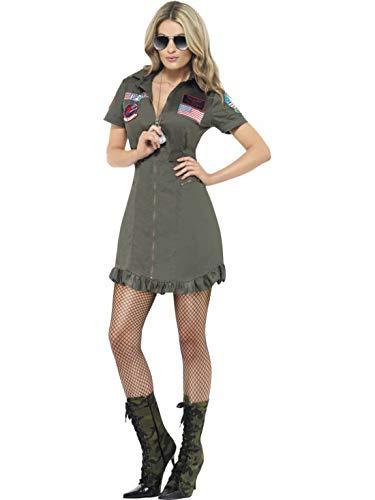 Frauen Top Gun Pilotin Luxuskostüm mit Kleid und Sonnebrille, perfekt für Karneval, Fasching und Fastnacht, L, Grün ()