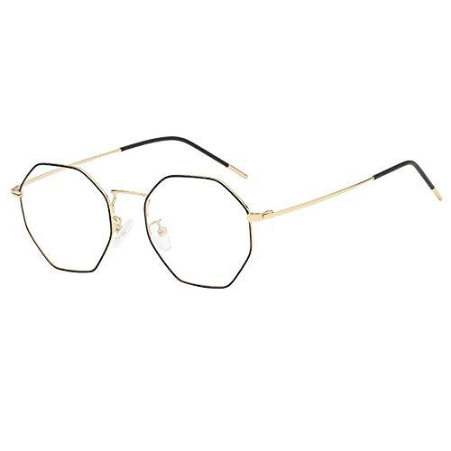 KUDICO Unisex Brillen Retro Glasrahmen Ebenenspiegel Dekobrille Metall Frame Klassisches Rhombus Rahmen Glasses Klare Linse Brille(E, One Size)