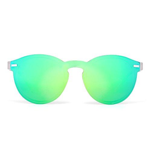 JIM HALO Polarisiert Randlos Sonnenbrille Reflektierend Ein Stück Runde Gespiegelte Brillen Zum Damen Herren(Matt transparent/grün)