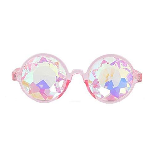 VADOO Kaleidoskop Gläser Regenbogen Prisma Sonnenbrille Für Frauen Männer Beste Rave Party Beugung Glas Kristall Linsen(Pink)