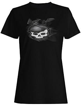 Novedad ahumada venenosa del cráneo divertida camiseta de las mujeres a443f