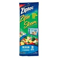 Ziploc Zip and Steam Cooking Bags [ 1 Package Contains 3 Bags]