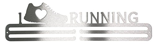 "Medaillen-Aufhänger mit Schriftzug ""I Love Running"" aus 3mm dickem gebürstetem Edelstahl - Race-medaille Aufhänger"