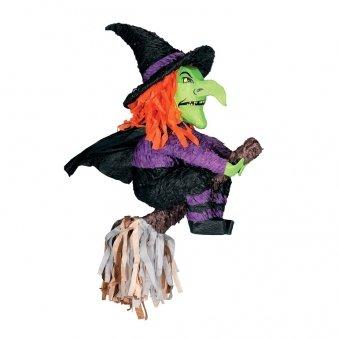 (KULTFAKTOR GmbH Pinata Halloween-Party Spiel und Deko Hexe auf Besen grün-lila-schwarz 60cm Einheitsgröße)