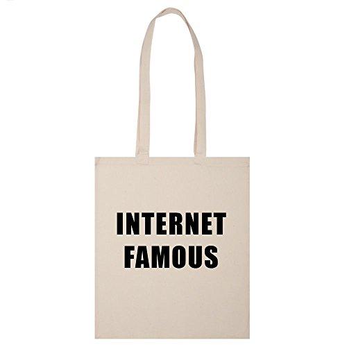 Internet berühmten Tasche Schultertasche Handtasche Leinwand Tumblr beige