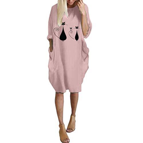 Floweworld Damen Langarm Kleider Jumper Loose O Neck Solide Printed Minikleider Übergroße Baggy Langarm Kleider mit Taschen (Tom Cruise Kostüm Frauen)