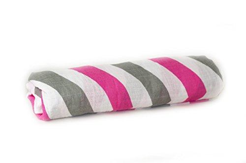 Nayla Baby Swaddle Stripes Girl pink/grau, Mulltuch 120x120 cm
