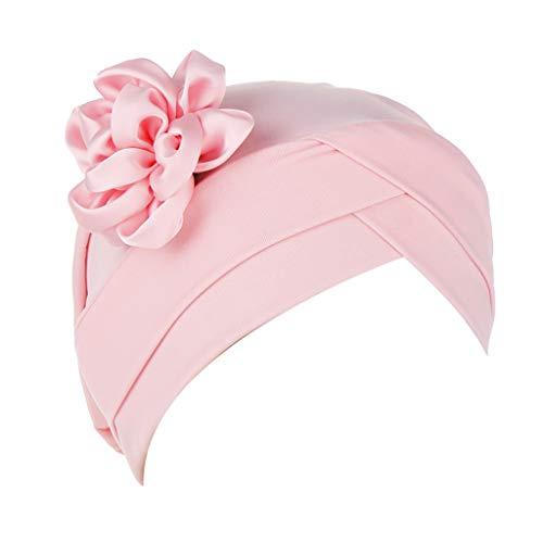 Große Kostüm Twister - Auiyut Frauen Blumen Indien Hut moslemische Rüsche Krebs Chemo Sommer Turban Verpackungs Kappe (Rosa, FREIEGRÖSSE)